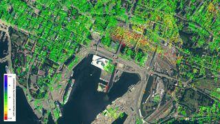Se de ferskeste satellittbildene som viser hvor mye byggene i Bjørvika synker