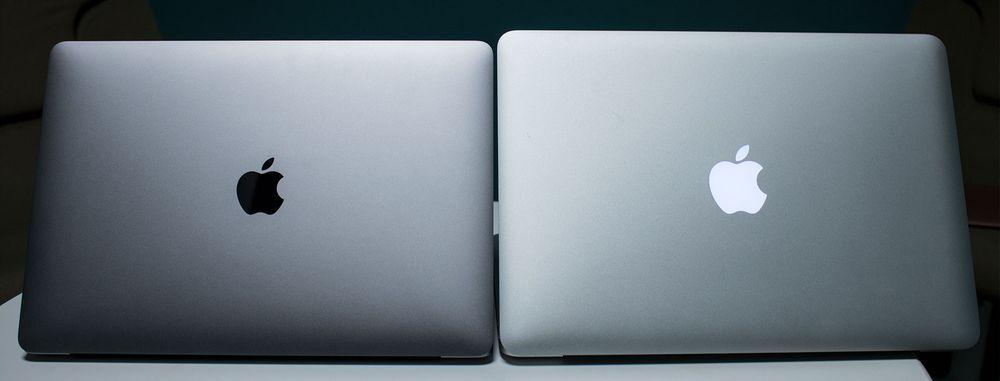 Den lysende eplelogoen er erstattet av en i aluminium. Her MacBook Pro 2016 og MacBook Pro 2015.