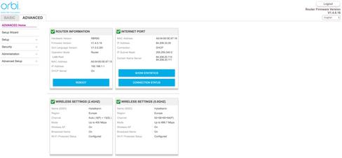 Slik ser konfigurasjonssentralen til Orbi ut. Den minner en god del om den som brukes for Netgears Nighthawk-rutere.