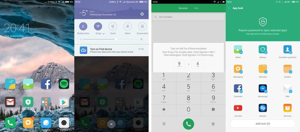 Menyene er Xiaomis egne oppå Android 6. Systemet er raskt og enkelt å bruke, men det dukker opp språkforvirring litt her og der, og noen av engangsmeldingene har en og annen kodesnutt i seg. Heldigvis er det bare engelsk den av og til slår over til, og de litt rare meldingene vises kun én gang. Vanligvis trekker vi for dette, men her overskygges dette småplukket av en langt større helhet.