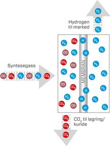 Illustrasjonen viser prinsippet for membranseparasjonsteknologien på Tjeldbergodden. Syntesegassen består av CO2 og Hydrogen. Palladium ligger tynt utenpå perforerte rør. Kun hydrogenmolekyler slipper igjennom og fanges opp inne i rørene og føres videre. CO2 håndteres separat og kan lagres eller håndteres på annen måte.