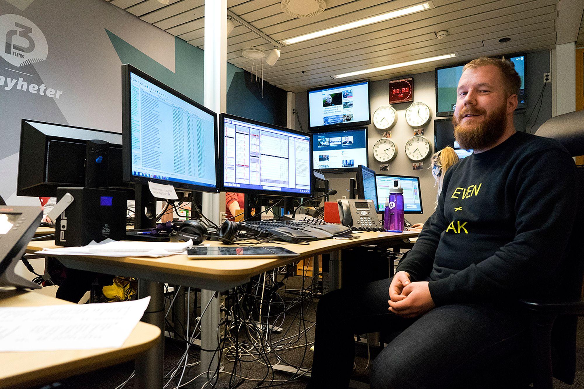 Gruppeleder Even Nielsen i P3nyheter holder styr på sine fem ansatte. Her fra kontoret på Tyholt i Trondheim.