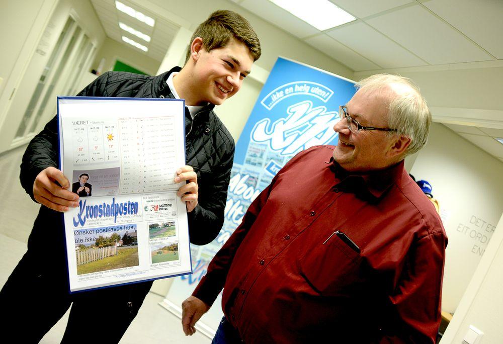 Redaktør Tom Erik og pappa Håkon Nilsen, som driver Fagtrykk Alta. Bedriften står for annonser og digitaltrykk av avisa.