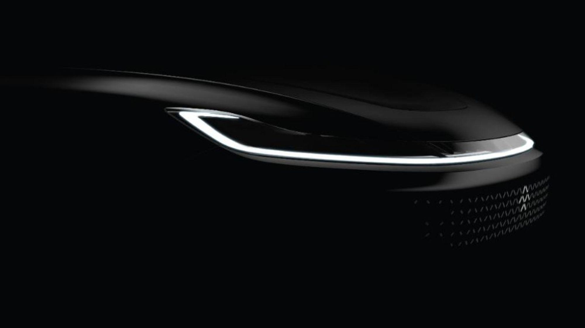 Dette er fronten på Faraday Futures kommende elbil som skal vises frem i januar.