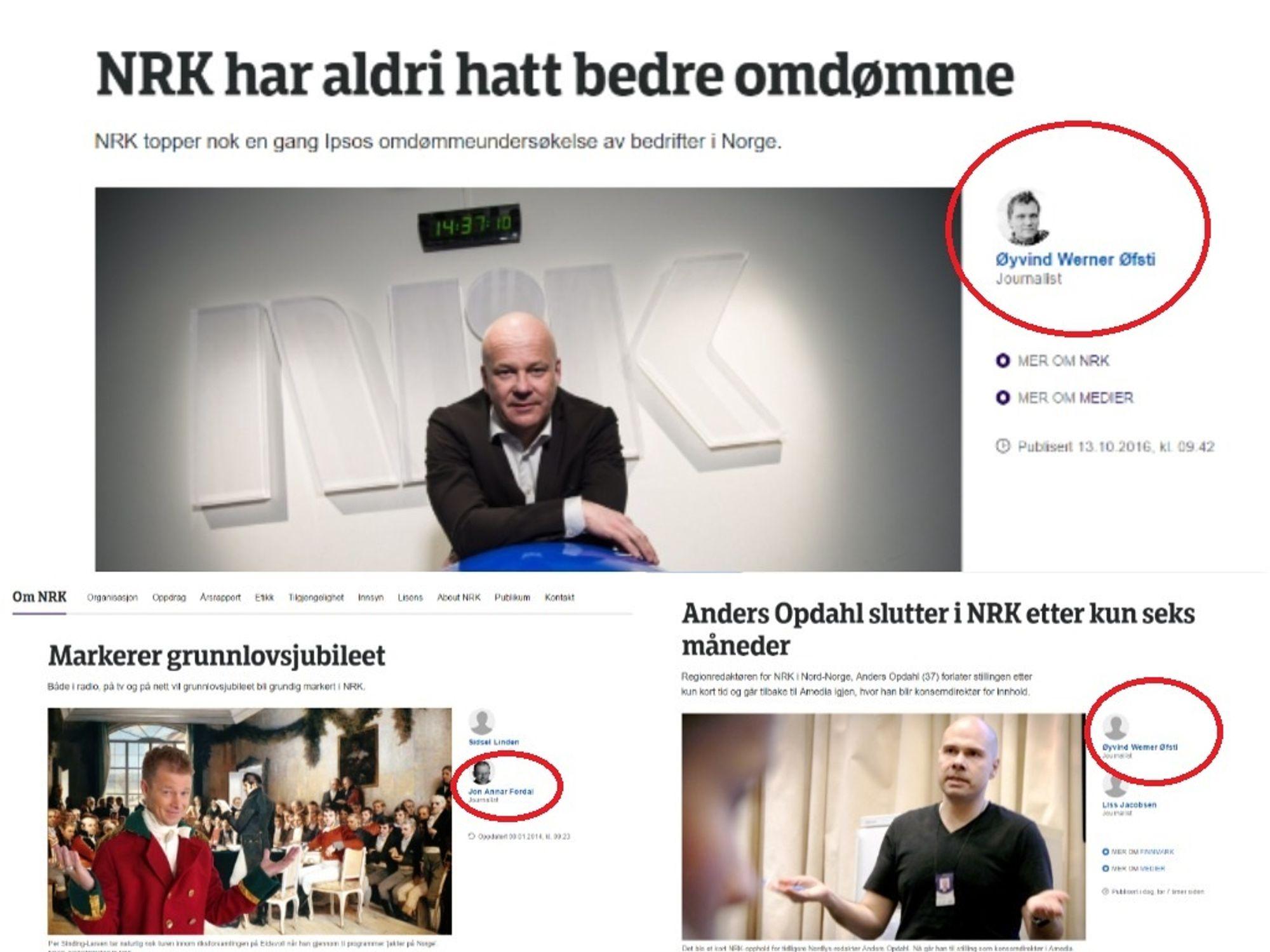 Eksempler på der kommunikasjonsrådgivere bruker tittelen journalist. (Collage).