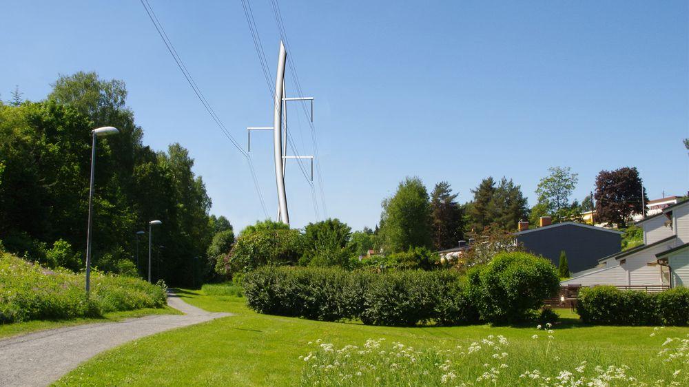 Denne fotomontasjen viser hvordan mastedesignet som vant Statnetts designkonkurranse, Strå, kunne sett ut om det blir bygget.