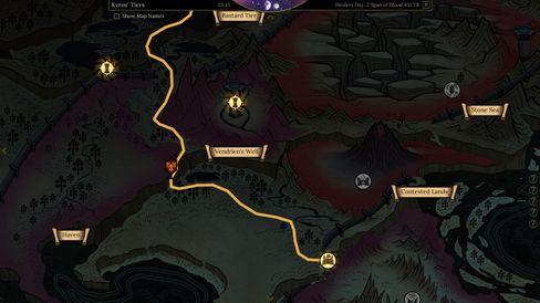 Via verdenskartet tar man seg fra sted til sted.