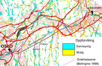 Dypforvitret fjell er tolket med blå og gule farger i Østmarkaområdet utenfor Oslo. Romeriksporten er vist sammen med observerte svakhetssoner med lilla farge. Datasettene bekrefter at den såkalte Amager-metoden, basert på flymagnetiske data og en digital terrengmodell, fungerer i dette området.