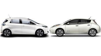 Første generasjon Renault Zoe og Nissan Leaf.