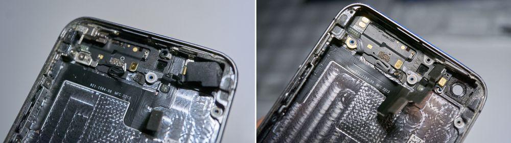I venstre topphjørne sitter vibrasjonsmotoren, og med den og noen andre deler skrudd ut kan elektronikken under lirkes opp.