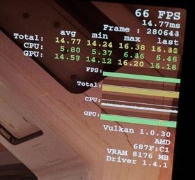 Dette bildet viser et Vega-basert grafikkort, trolig RX 490, med 8GB HBM2-minne. Bildet er tatt under AMDs Ryzen-annonsering.