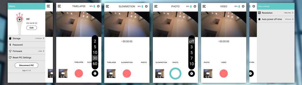 Slik ser hovedmenyen i Pic-appen ut. Fire opptaksmodi, og én kontrollside på hver side.