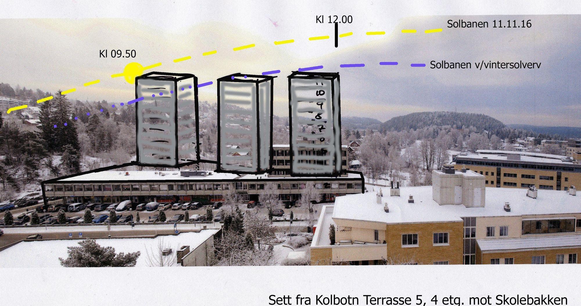 SLIK KAN DET BLI: Skissen anskueliggjør hvordan et signalbygg slik som foreslått i områdeplanen vil kunne fortone seg, sett fra Kolbotn Terrasse.