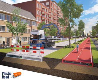 Modulene veien består av skal være cirka 2,5 x 5 meter og bestå av gjenbruksplast.