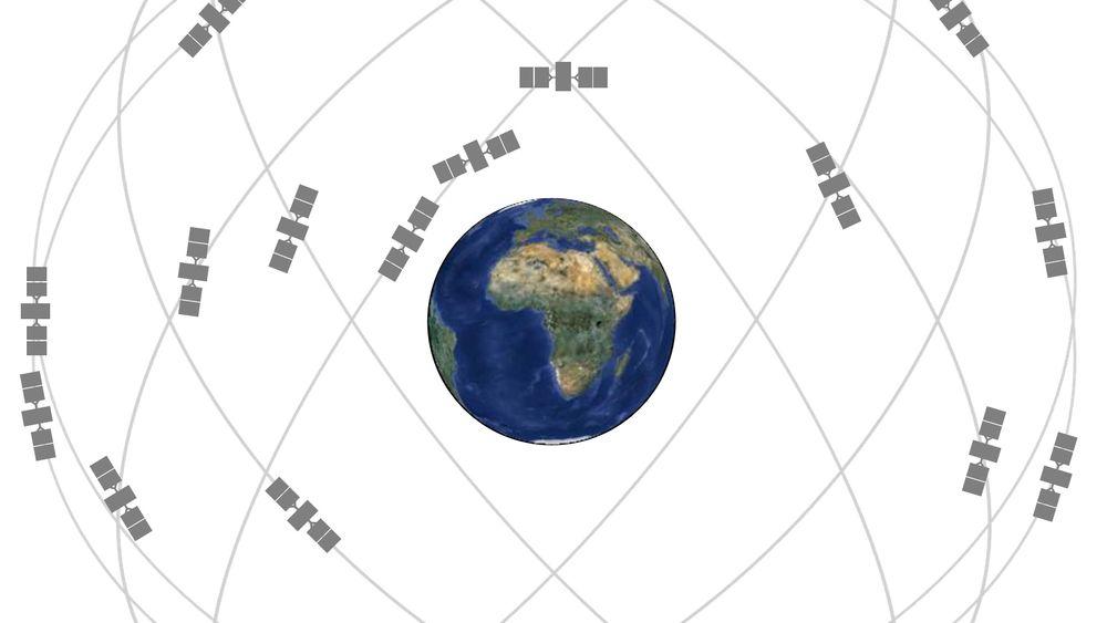 Illustrasjon av GPS-konstellasjonen.