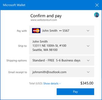 Payment Request API integreres med systemet elektroniske lommebok, her Microsoft Wallet. Det gjør at brukeren slipper å taste inn betalings- og kontaktinformasjon før man handler i en nettbutikk.