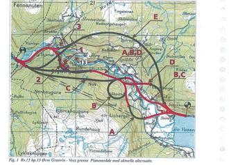 Dette kartet viser de totalt 15 ulike forslagene til ny trasé som var omtalt i kommunedelplanen i 1996.