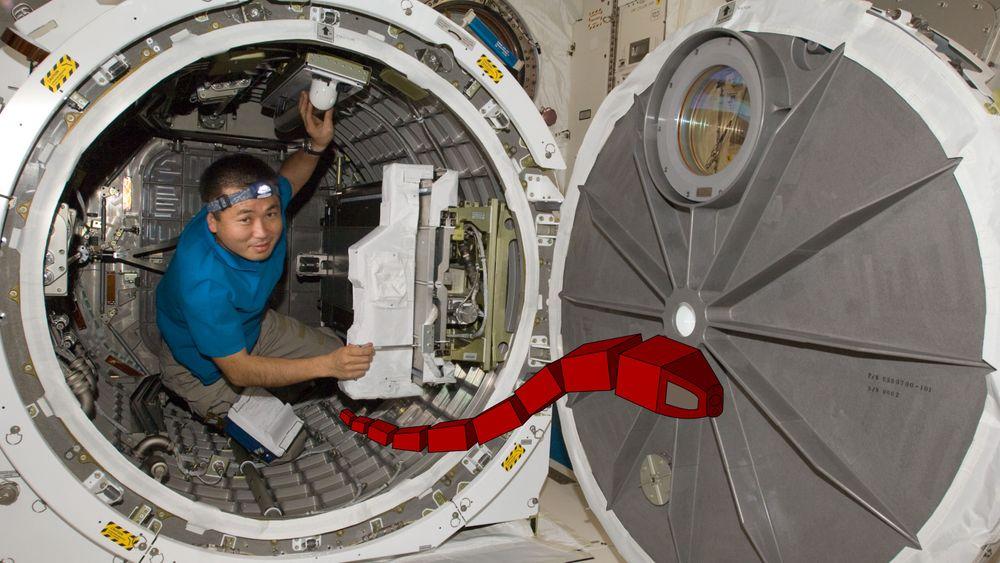 Bildet viser en tenkt slangerobot på romstasjonen ISS - på vei for å inspisere noe for astronauten.