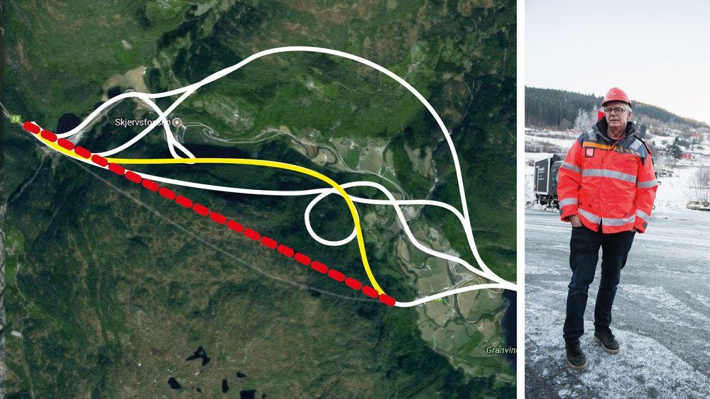 Prosjektleder Lars Magnar Røneid (til høyre) erstattet kommunens regulerte tunnelforslag (gul linje) ved å tegne en rett strek på kommunekartet (rød, stiplet linje). Røneid løsning løste ikke bare sikkerhetsproblemene, prosjektet endte også opp med å bli 125 millioner billigere enn opprinnelig anslått. De hvite linjene viser flere av de andre forslagene kommunen vurderte.