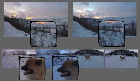 Øverst til venstre: GoPro; øverst til høyre: Garmin; nederst, første fra venstre: GoPro; andre fra venstre: Garmin; tredje fra venstre: Garmin; nederst til høyre: GoPro.