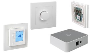 De nye Elko-komponentene, som termostaten og dimmeren, kan kontrolleres trådløst via gateway-en og danne basis for smarte hus.