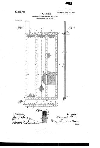 Et av patentene tilknyttet det såkalte Edison-batteriet, basert på Waldemar Jungers nikkel-jernbatteri fra 1899.