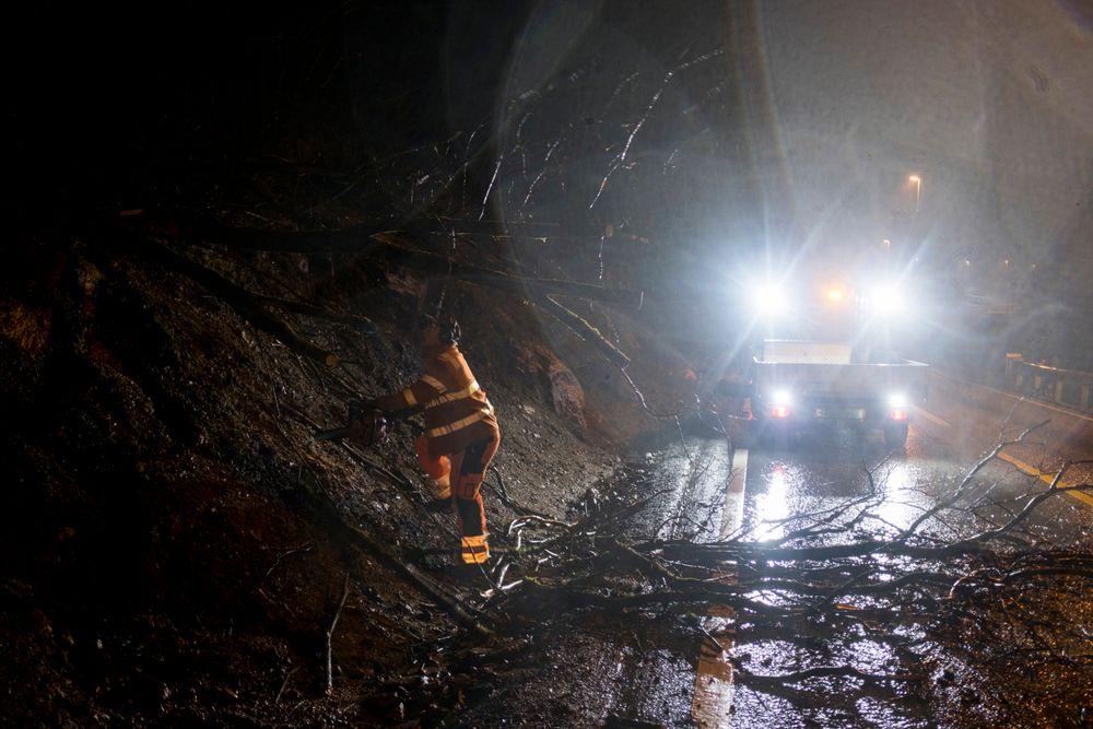 En arbeider fra Mesta ryddet E39 øst for Lyngdal etter at et tre blåste over veien som følge av Urds herjinger.