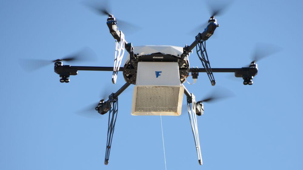 Leveringsdronene fra Flirtey leverte 77 pakker via lufta i Reno i USA i november.