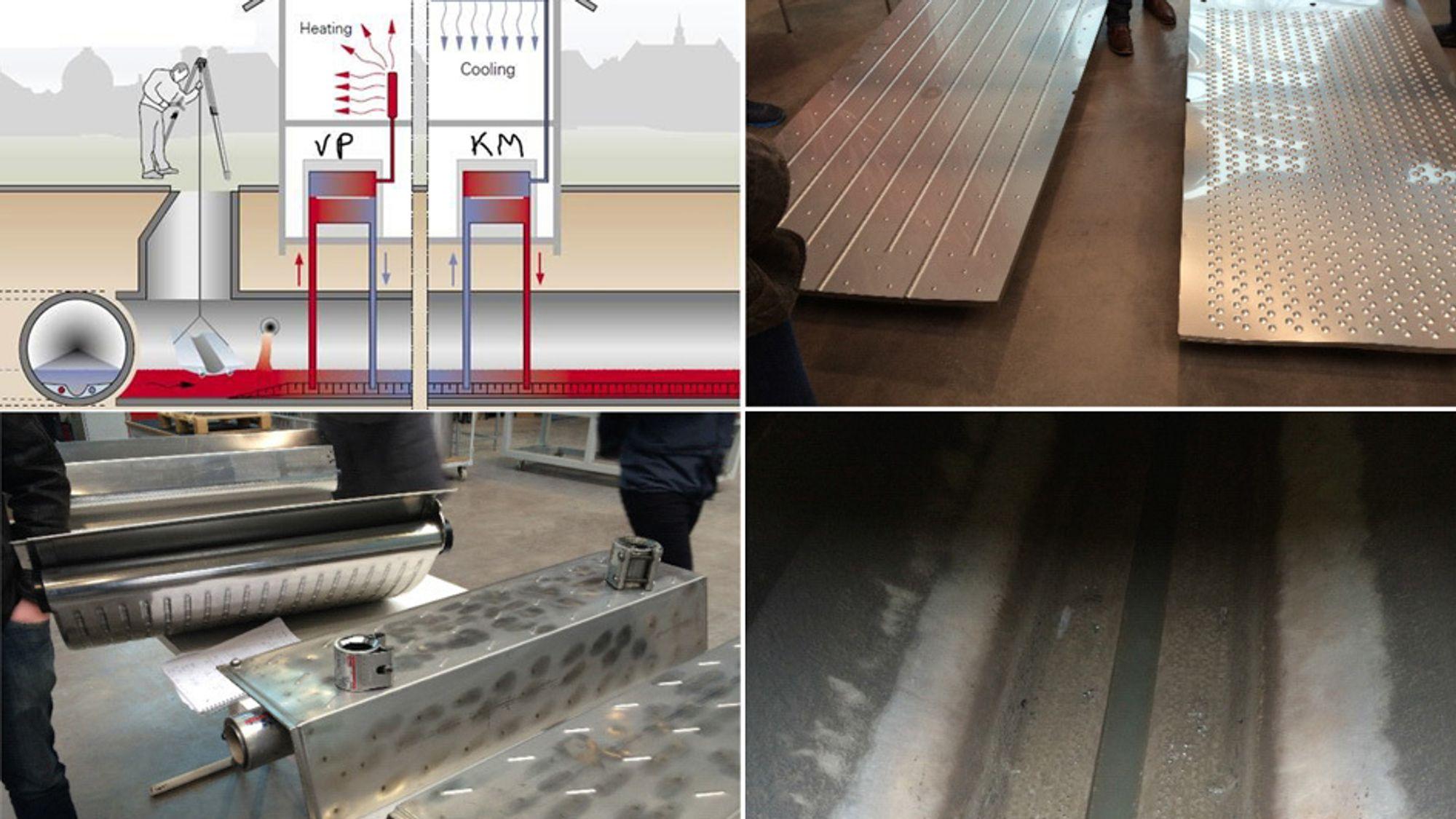 En varmepumpe/kjølemaskin er koblet mot varmevekslerelementene i avløpsrøret. Dette er det første anlegget i Norge hvor varmevekslere plasseres i selve avløpstunnelen.