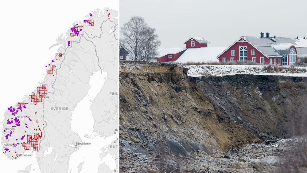 NVE ber Olje- og energidepartementet om mer penger til skredsikring. Bildet viser rasområdet i Sørum, hvor tre personer omkom i november.