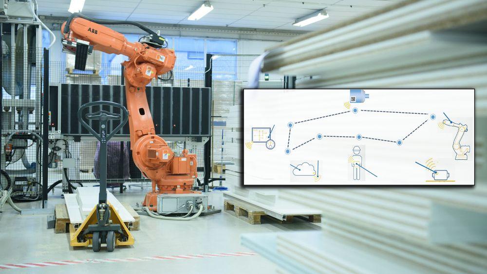 På Strai Kjøkken tar to roboter og fem maskiner seg av monteringen. Modellen viser en tenkt sammensmelting mellom internettet og det fysiske systemet (cyber-physical production system), som du kan lese mer om i artikkelen.