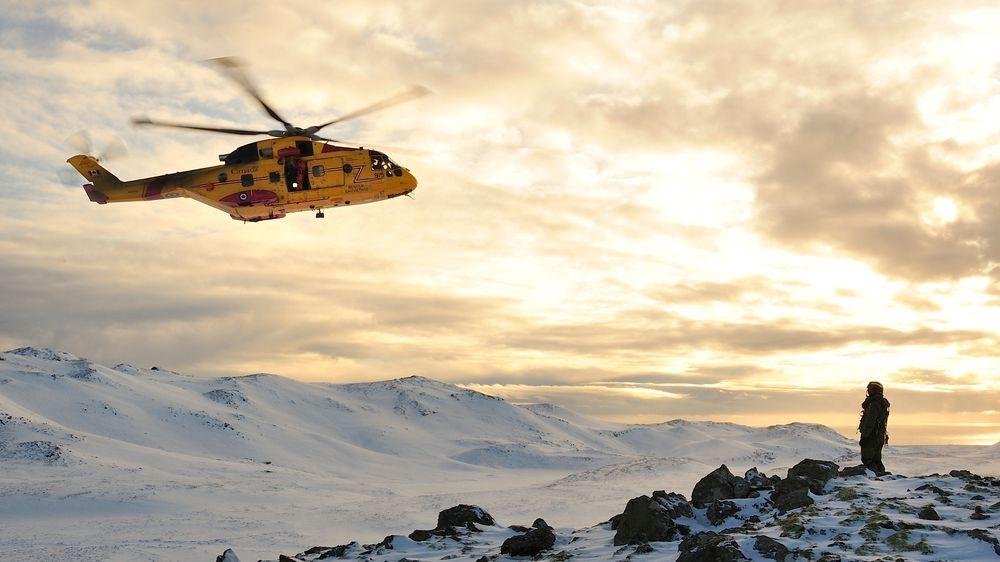 Canadisk CH-149 på vinterøvelse på Island i 2016. Nå skal dette og 13 andre kanadiske AW101 bruke Kongsberg på vedlikehold.