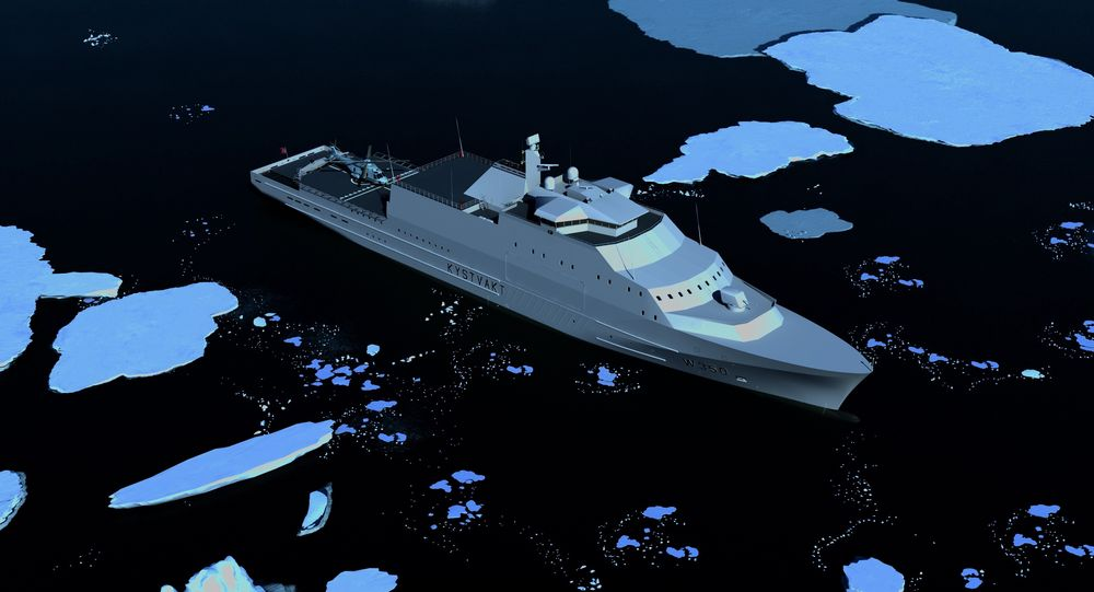Kystvaktskipet KV Arctic tegnet i polare strøk med helikopter på akterdekk.
