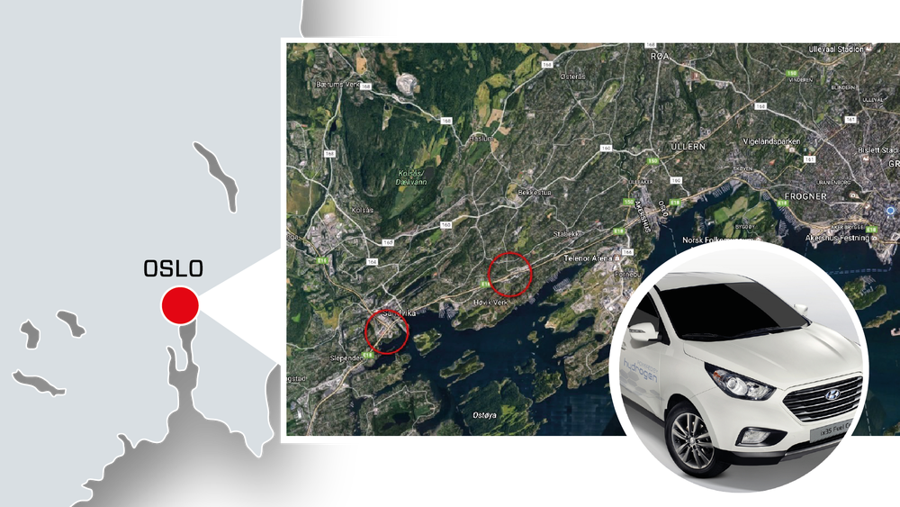 Norges to første kommersielle hydrogenstasjoner plasseres bare tre kilometer fra hverandre. Uno-x-stasjonen ligger i Sandvika lengst vest, mens den kommende Hyop-stasjonen ligger på Høvik - begge deler Bærum kommune. De få hydrogenstasjonene som eksisterer i dag er relativt små, eller fungerer som demonstrasjonsstasjoner.
