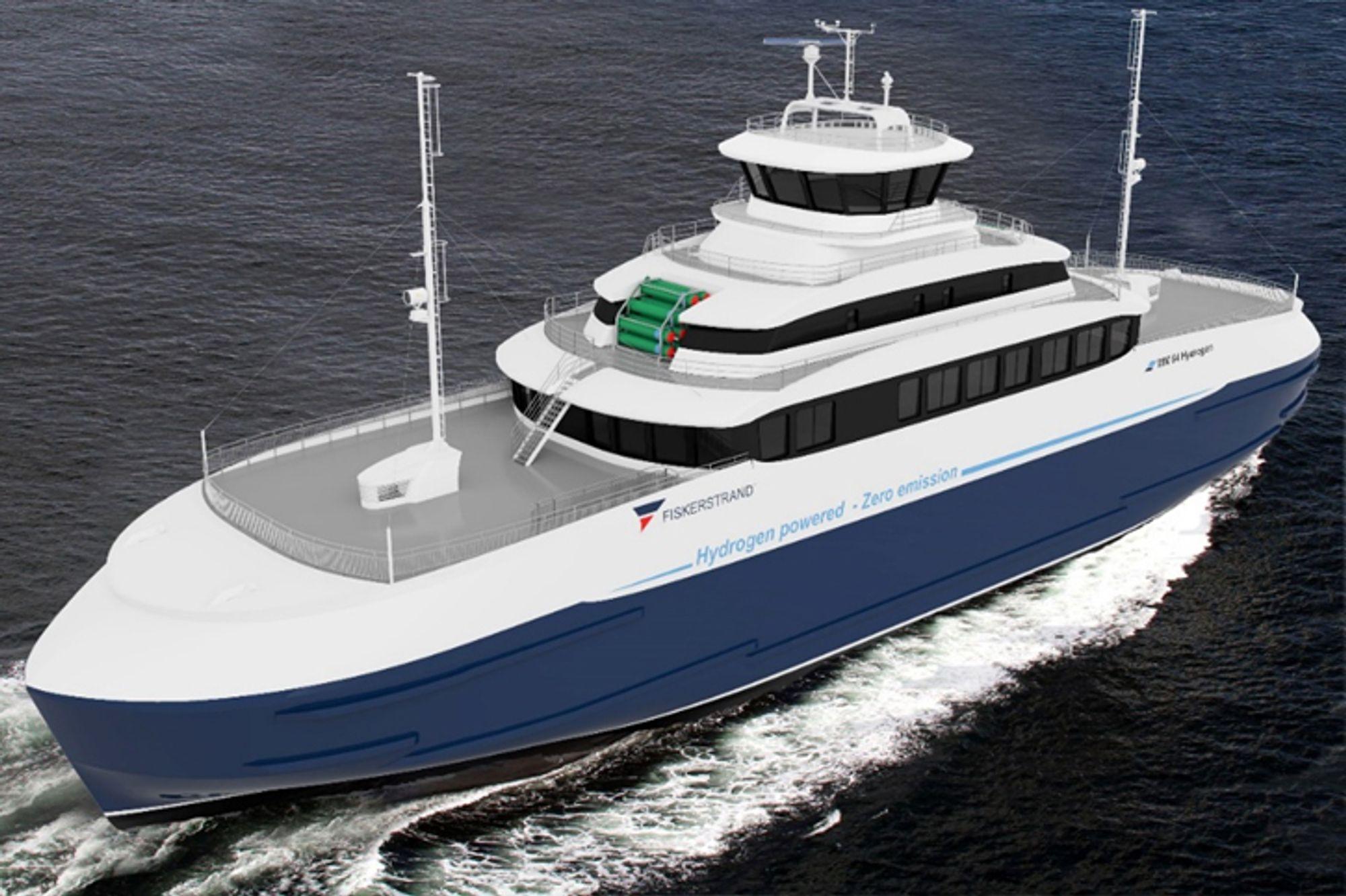 Konseptskisse for en hydrogendrevet ferge. I Pilot-E-prosjektet vil Fiskerstrand bygge om en eksisterende ferge for å spare penger.