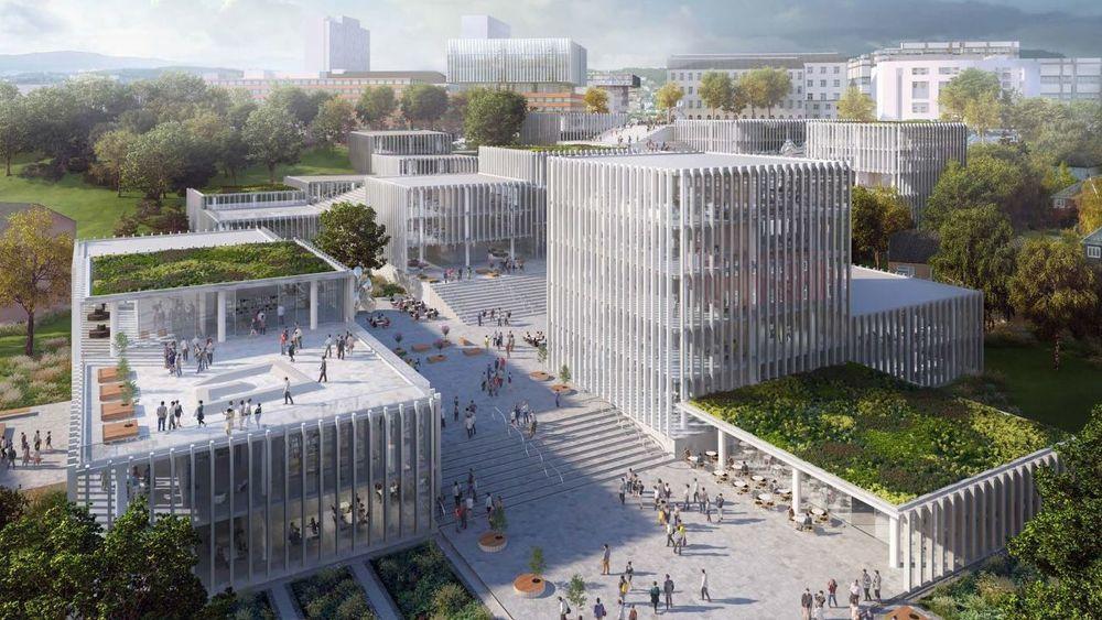 Ved det nye NTNU-campuset samles enda flere fagområder under samme tak. Det mener Svein Richard Brandtzæg og Christian Rynning-Tønnesen at er en gylden mulighet for større samarbeid på tvers, noe som vil være viktig for fremtidens ingeniører og teknologer. Illustrasjonen er ett av flere forslag om fremtidig NTNU-campus.