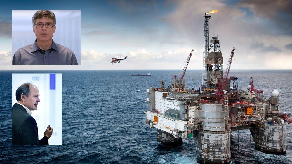 BI-forsker Per Espen Stoknes (innfelt øverst) og Bjørn Harald Martinsen i Norsk olje og gass er uenige om fremtiden for norsk olje og gass.
