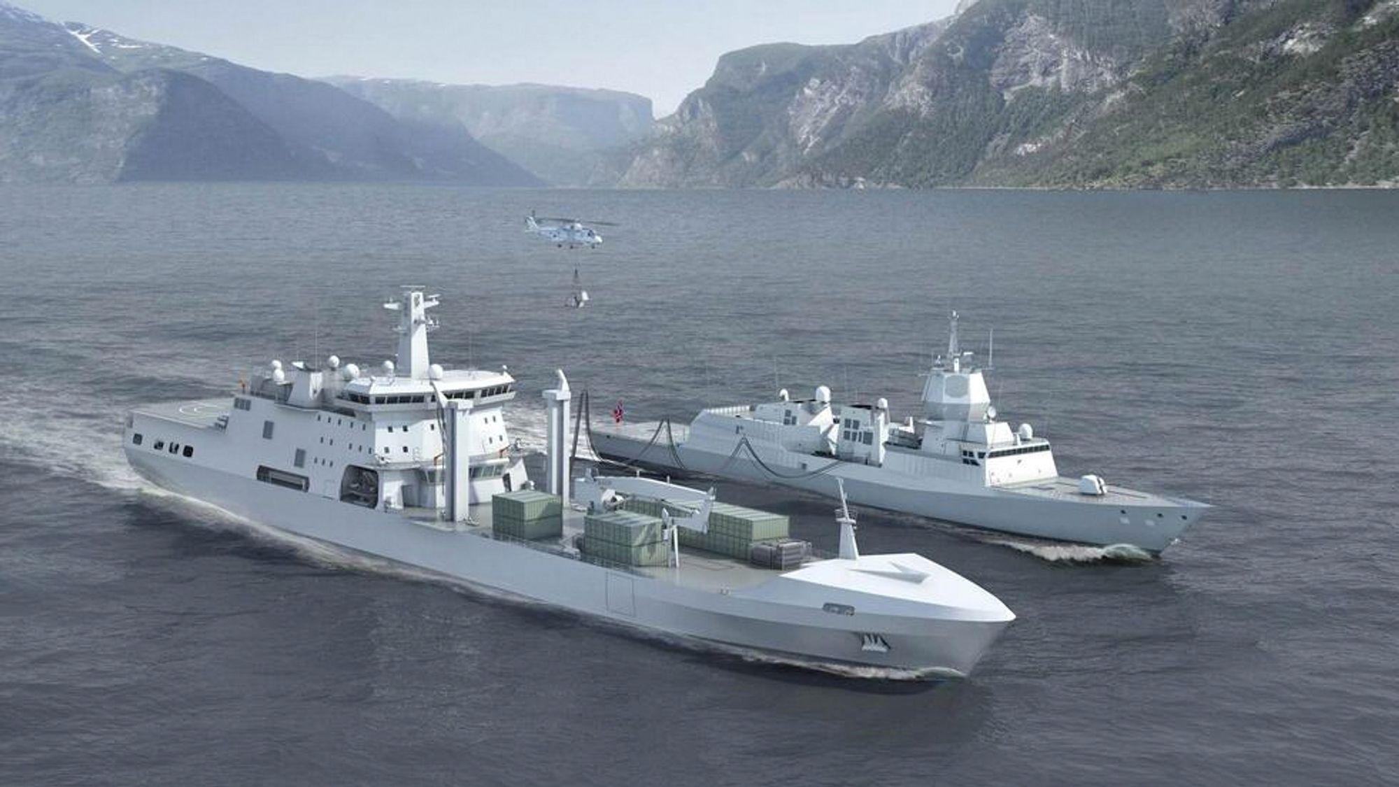 Illustrasjon av det kommende logistikkfartøyet KNM Maud sammen med en fregatt i Fridtjof Nansen-klassen og et NH90-helikopter.
