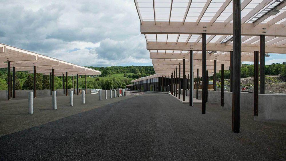 Den nye gjenvinningsstasjonen på Lyngås i Lier.