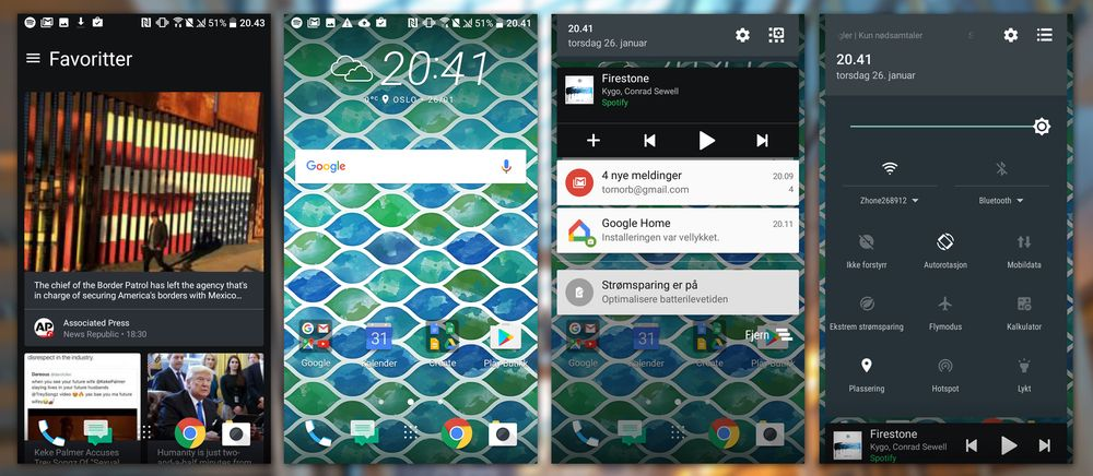 Grensesnittet nærmer seg standard Android.
