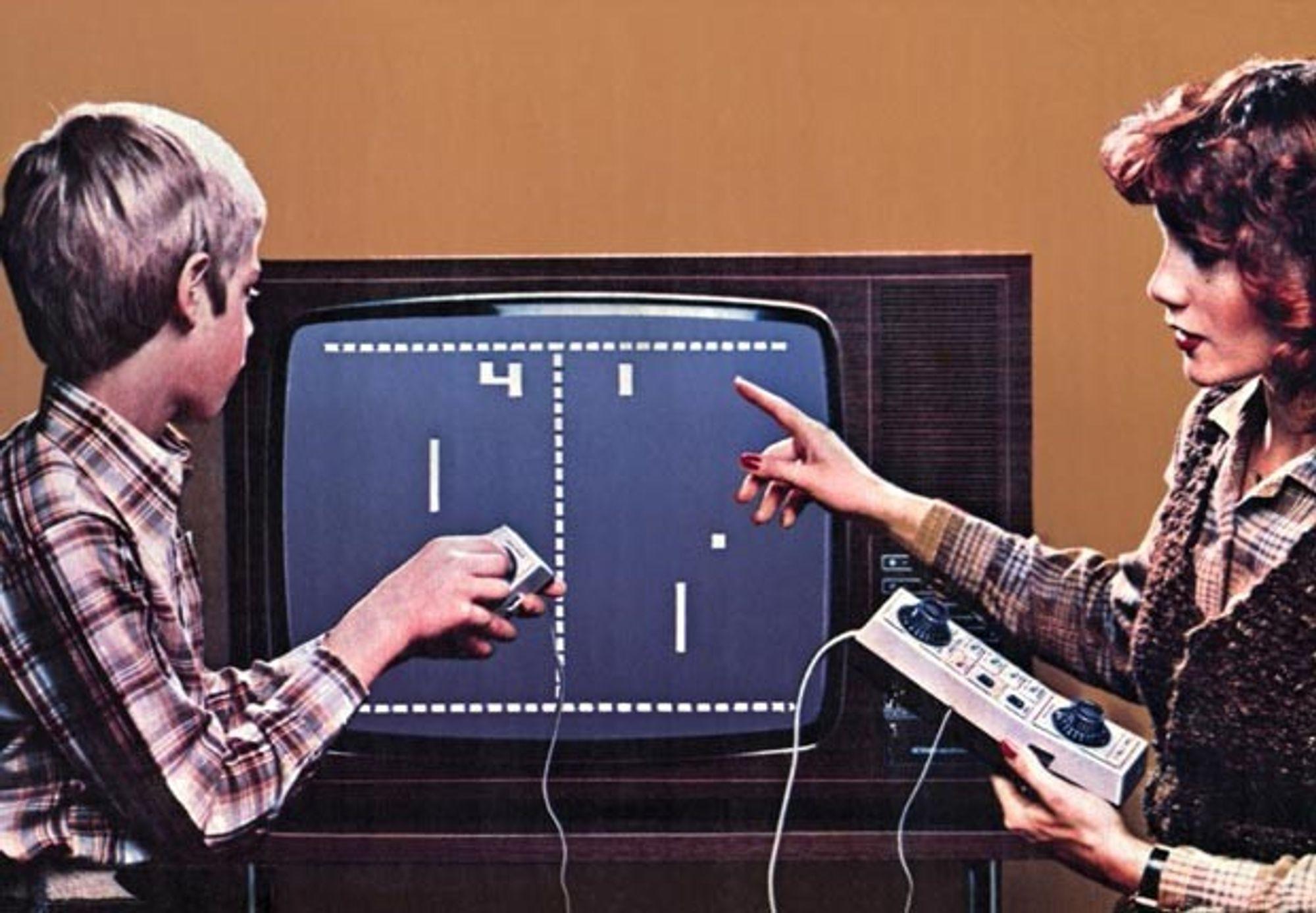 En av de først TV-spillene av Pong fra Atari.