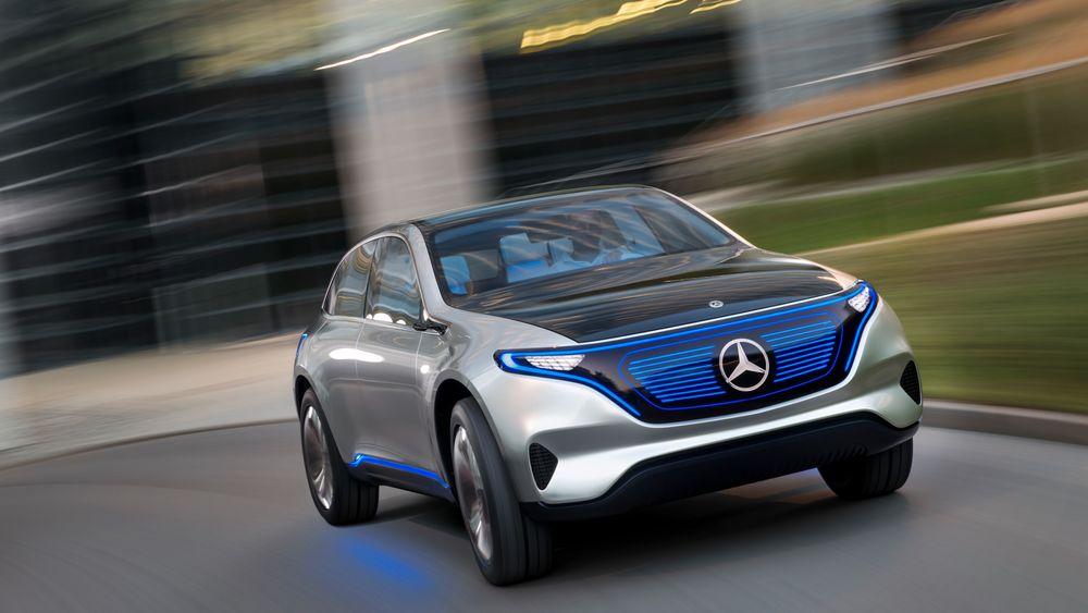 Bildet viser Mercedes-Benz' elbilkonsept EQ. Nå investerer Daimler milliarder for å bygge elbilbatterifabrikk i Kina.