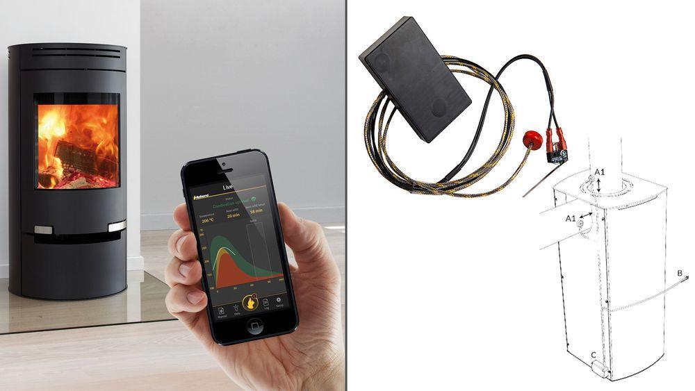 Ifølge den danske produsenten er det kan to sensorer og en Bluetooth kommunikasjonsenhet gjøre peisen mer økonomisk og miljøvennlig.