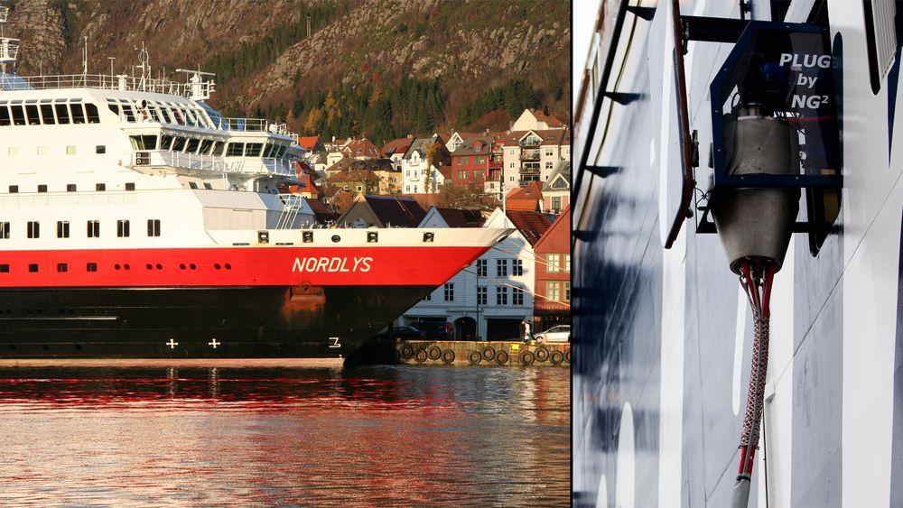 Fra april kan Bergen tilby landstrøm. Her ligger MS Nordlys ved kai i Bergen. Dette skipet kan tidligst kobles på neste år.
