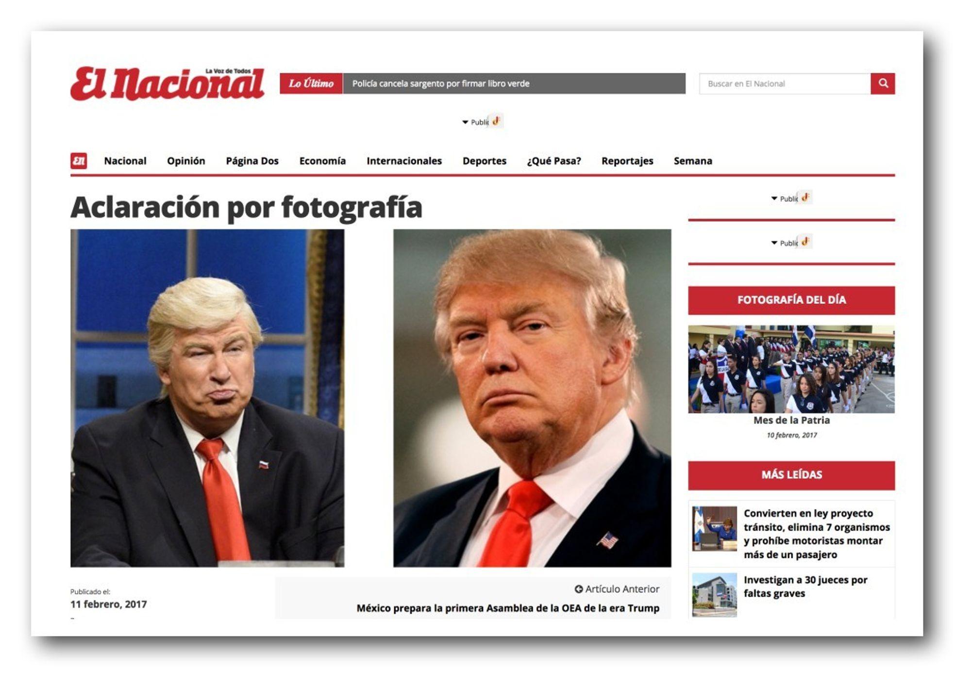 El Nacional beklager a... Alec Baldwin As Trump