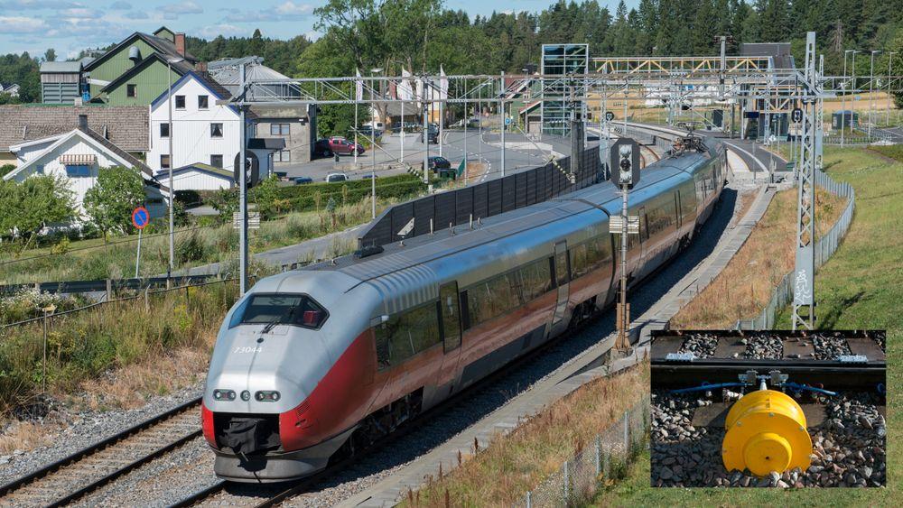 Ved Knapstad på Østoldbanens østre linje er det montert to mekaniske smøreapparater som skal få ned støy for de som bor i området rundt toget. Illustrasjonsbilde hentet fra Østfoldbanen ved Råde.