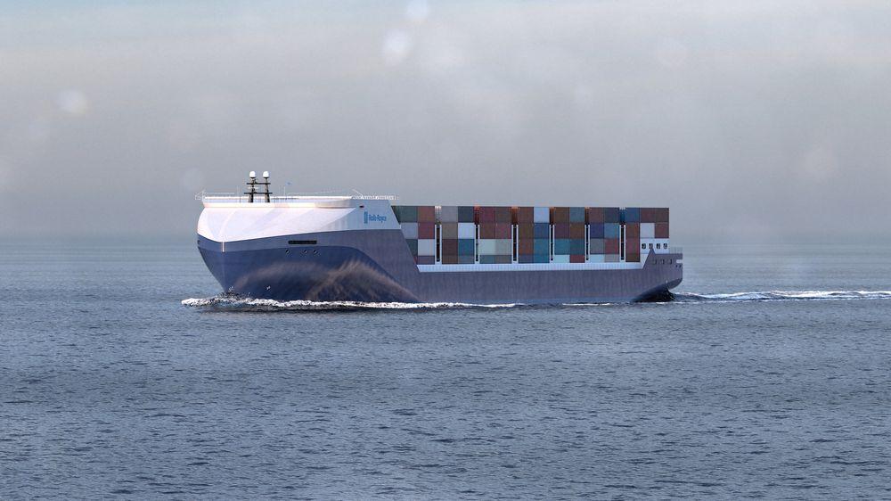 """Rolls-Royce tror at et modulbasert 1000-TEU containerskip i 2030 kan seile autonomt fra havn til havn som """"feeder"""" i nærskipsfart."""
