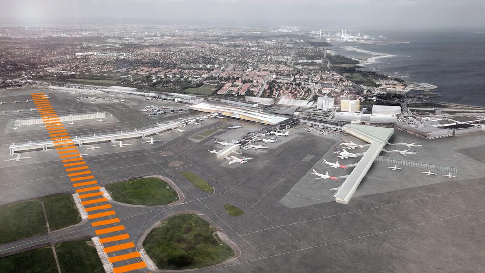 Slik skulle Københavns Lufthavn se ut i 2024 - uten dagens tverrbane, dersom løsningen ble godkjent. Etter store protester fra piloter og flyselskaper ble en midlertidig tvrrbane lagt iunn i planen. Nå kan det vise seg at denne blir for kort til å kunne brukes av de aller fleste.