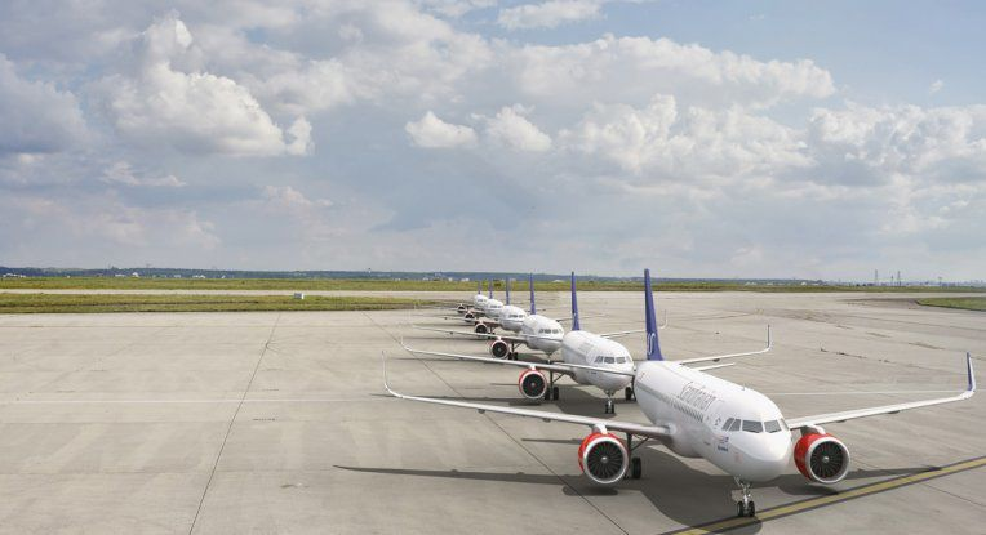 Noen av A320neo-flyene til SAS, som selskapet fikk levert på slutten av 2016.