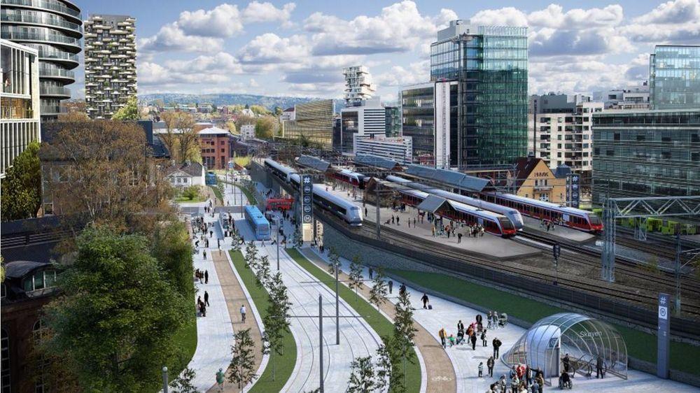 Mandag ble det klart at regjeringen bidrar med 6 milliarder kroner til den nye Fornebubanen. Illustrasjonen viser Skøyen stasjon på Fornebubanen som blir på 8,1 km med en reisetid på bare 12 minutter fra Majorstuen til Fornebu.